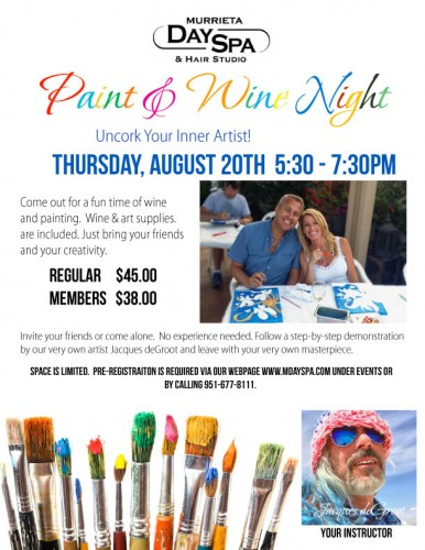Murrieta Day Spa Paint Night Aug 20th